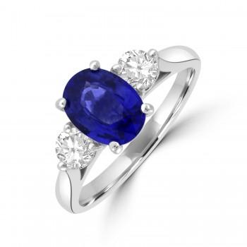 Platinum Three-stone 1.54ct Sapphire & Diamond Ring