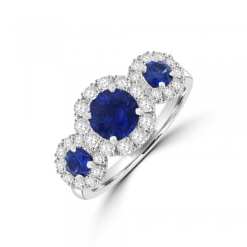 Platinum Three-stone Sapphire Diamond Halo Ring