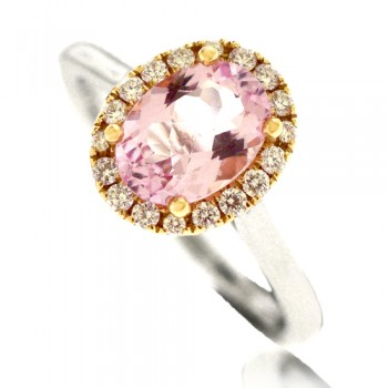Platinum & 18ct Rose Gold Pink Morganite Diamond Halo Ring