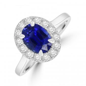 Platinum 1.59ct Sapphire Oval Diamond Halo Ring