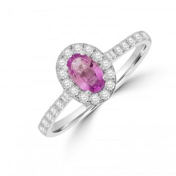 Platinum Pink Sapphire & Diamond Oval Halo Ring