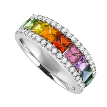 18ct White Gold 3-Row Rainbow Sapphire & Diamond Ring