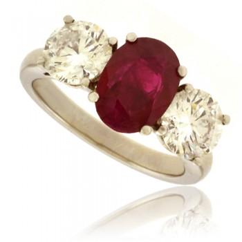 Platinum 3-Stone Ruby & DIamond Ring