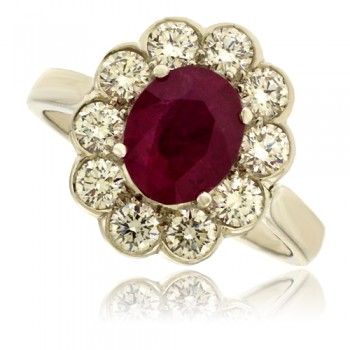 Platinum Oval Ruby & Diamond Cluster Ring
