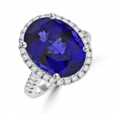 Platinum Tanzanite & Diamond Oval Halo Ring