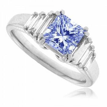 Platinum Tanzanite & Baguette Diamond Solitaire Ring