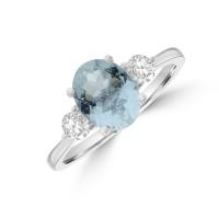 Platinum Three-stone 1.61ct Aquamarine & Diamond Ring