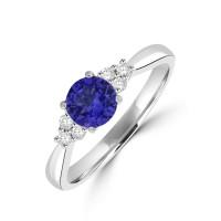 Platinum Tanzanite and Diamond Trilogy Ring