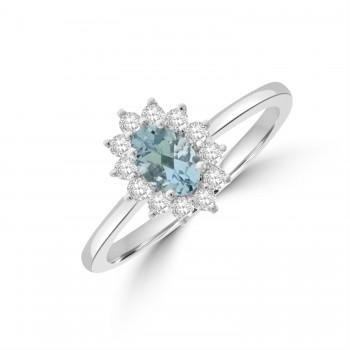 Platinum Aquamarine & Diamond Oval Cluster Ring