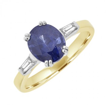 18ct Gold Sapphire & Baguette Diamond Solitaire Ring
