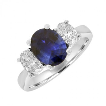 18ct White Gold 3-Stone Oval Sapphire & Oval Diamond Ring