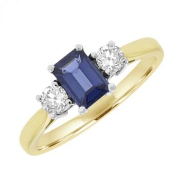 18ct Gold Three-stone Emerald cut Sapphire & Diamond Ring