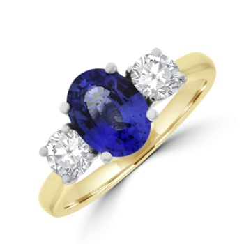 18ct Gold Three-stone Sapphire & Diamond Ring