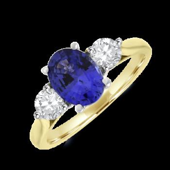 18ct Gold Three-stone Oval Sapphire & Diamond Ring