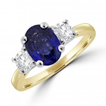 18ct Gold Oval 1.68ct Sapphire and Diamond Three-stone Ring