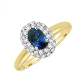 18ct Gold Sapphire & Diamond Halo Ring