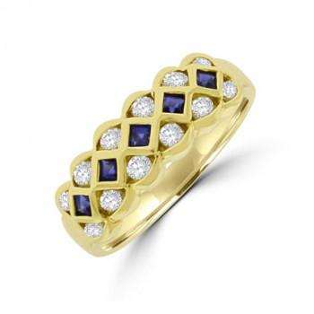 18ct Gold 3-row Sapphire & Diamond Eternity Ring