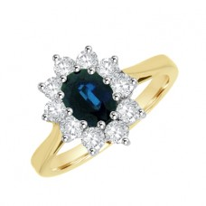 18ct Gold 11-stone Oval Sapphire & Diamond Cluster Ring