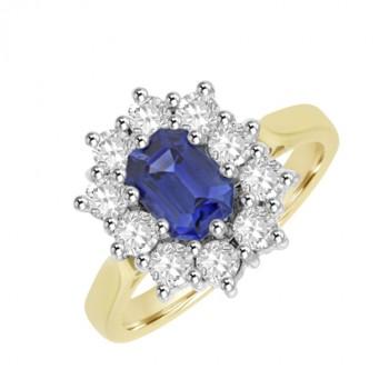 18ct Gold Emerald cut Sapphire & Diamond Cluster Ring