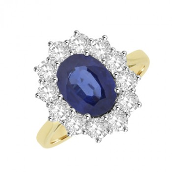 18ct Gold Oval cut Sapphire & Diamond Cluster Ring