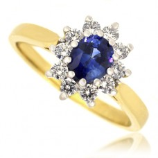 18ct Gold Sapphire & Diamond Oval Cluster Ring