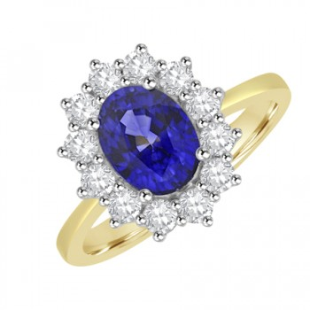 18ct Gold Thirteen-stone Oval Sapphire & Diamond Cluster Ring