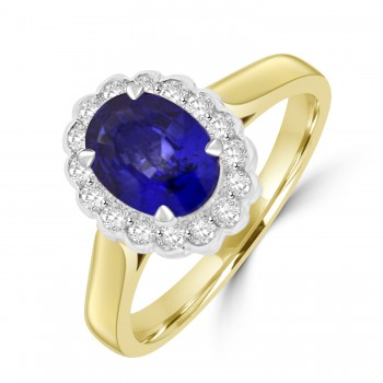 18ct Gold 1.26ct Sapphire and Diamond Oval Cluster Ring