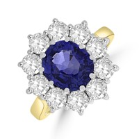 18ct Gold 2.80ct Sapphire & Diamond Oval Cluster Ring