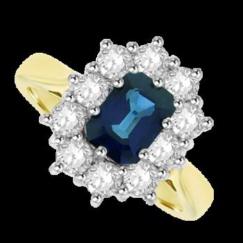 18ct Gold Emerald cut 1.57ct Sapphire & Diamond Cluster Ring