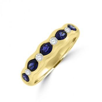 18ct Gold 9-stone Sapphire & Diamond Eternity Ring