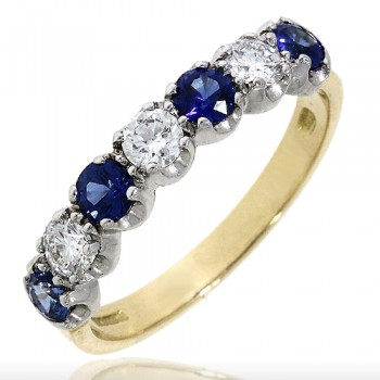 18ct Gold 7-stone Sapphire & Diamond Eternity Ring