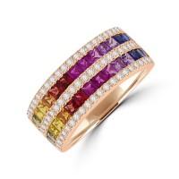 18ct Rose Gold 5-Row Rainbow Sapphire & Diamond Eternity Ring