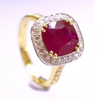 18ct Gold Ruby Cushion Diamond Halo Ring