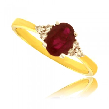 18ct Gold oval Ruby Ring with Diamond Shoulders