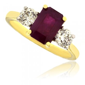 18ct Gold 3-Stone Emerald-cut Ruby & Diamond Ring
