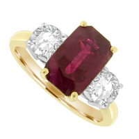 18ct Gold 3-Stone Ruby & Diamond Ring
