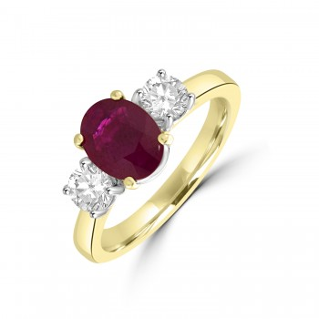 18ct Gold Three-stone 1.20ct Oval Ruby & Diamond Ring