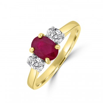 18ct Gold Three-stone Ruby and Diamond Oval Ring