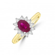 18ct Gold Oval .98ct Ruby and Diamond Cluster Ring