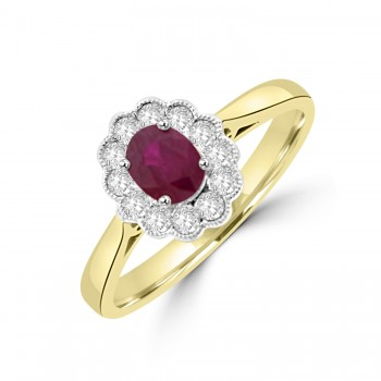 18ct Gold Ruby and Diamond Oval Cluster Millegrain Ring