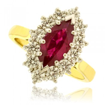 18ct Gold 13-Stone Marquise cut Ruby & Diamond Cluster Ring