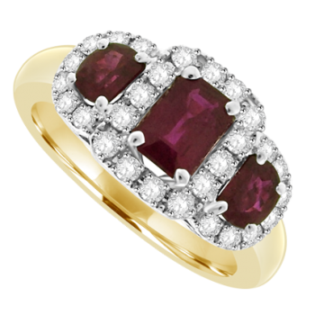 18ct Gold 3-Stone Ruby & Pave Diamond Cluster Ring