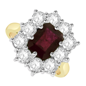 18ct Gold 11-Stone Ruby & Diamond Cluster Ring