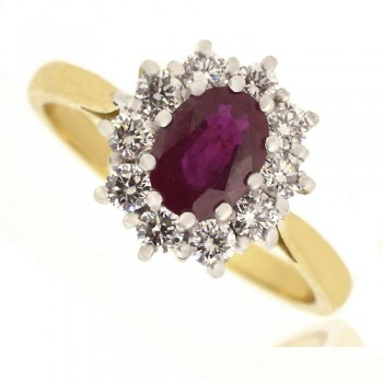 18ct Gold Ruby & Diamond Oval Cluster Ring