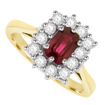18ct Gold .68ct Ruby & Diamond Emerald cut Cluster Ring
