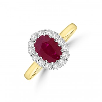 18ct Gold Oval 1.32ct Ruby and Diamond Cluster Ring