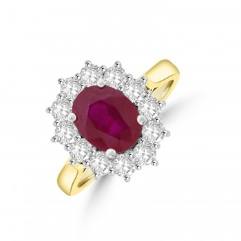 18ct Gold 2.27ct Ruby & Diamond Oval Cluster Ring