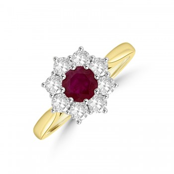 18ct Yellow Gold Ruby and Diamond Cluster Ring.