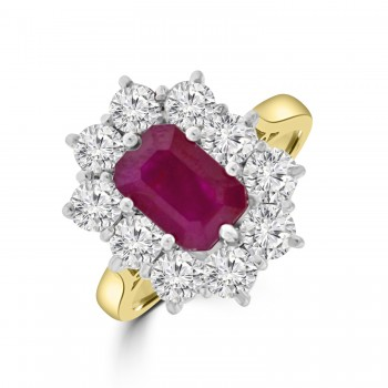 18ct Gold Emerald cut 2.39ct  Ruby & Diamond Cluster Ring