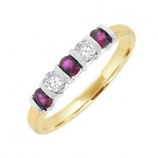 18ct Gold 5-Stone Ruby & Diamond Eternity Bar Set Ring